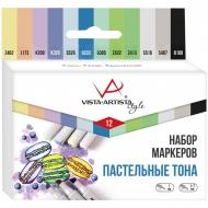 """Набор маркеров для творчества Vista-Artista """"Style"""" 12цв., пулевидный/скошенный, 0,7мм/1-7мм, Пастельные тона"""