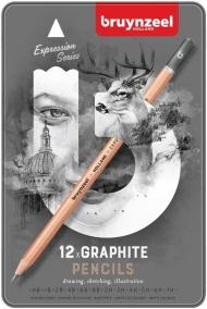 Набор чернографитных карандашей Bruynzeel Expression Graphite, 12 шт, 7H-8B