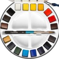 Дорожный набор акварельных красок Daler Rowney Aquafine, 18 кювет, металлическая коробка