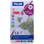 """Карандаши Milan """"213"""", 12цв., заточен., утолщенный грифель, метал. пенал"""
