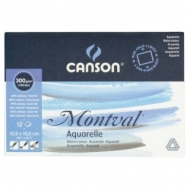 Блок для акварели Canson Montval 300г/кв.м (целлюлоза) 10.5*15.5см 12листов склейка по 4 сторонам