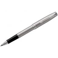 """Ручка-роллер Parker """"Sonnet Stainless Steel CT"""" черная, 0,8мм, подарочная уп."""