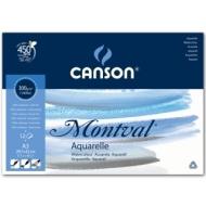 Альбом для акварели Canson Montval 300г/кв.м (целлюлоза) 29.7*42см 12листов Фин склейка склейка по короткой стороне