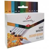 """Набор маркеров для творчества Vista-Artista """"Style"""" 12цв., пулевидный/скошенный, 0,7мм/1-7мм, Лесной пейзаж"""