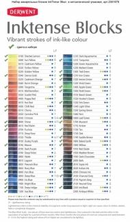 Набор акварельных блоков Derwent Inktense 36 цветов, металлический пенал