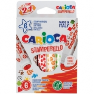 """Фломастеры-штампы двусторонние Carioca """"Stamp Markers"""", 06цв., смываемые, картон, европодвес"""