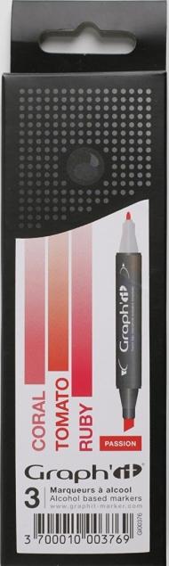Набор маркеров Graph-It 3 штуки Passion (оттенки красного) в пластиковой упаковке