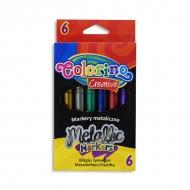 Набор маркеров для рисования на бумаге и картоне Metallic Colorino, 6 цветов металлик