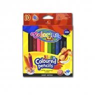 Набор детских цветных мини-карандашей Colorino Jumbo short, длина 8.9 см, 10 цветов