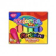 Детский пластилин для лепки и поделок Colorino Neon, 6 неоновых цветов, круглый