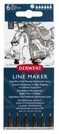Набор линеров Graphik Line maker Derwent, 6 штук, черные