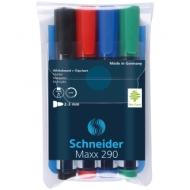 """Набор маркеров для белых досок и флипчартов Schneider """"Maxx 290"""" 4цв., пулевидный, 3мм, прозр. чехол"""