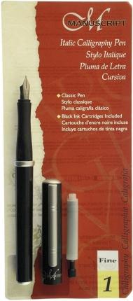 Ручка перьевая Manuscript Italic F 0.85м с конвертером и картриджем для левшей в блистере