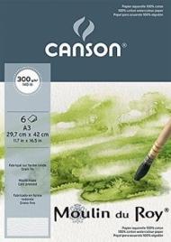 Бумага для акварели Canson Moulin du Roy 300г/кв.м, 29.7*42см,100% хлопок, Фин, 6 листов в упаковке