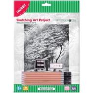 """Набор для рисования скетча Greenwich Line """"Осенний парк"""", A4, карандаши, ластик, точилка, картон"""