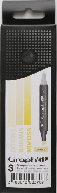 Набор маркеров Graph-It 3 штуки Sunny (оттенки желтого) в пластиковой упаковке