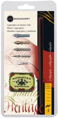 Набор Manuscript Copperplate & Shadow (держатель, 5 перьев и футляр для перьев) в блистере