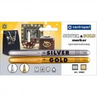 Набор перманентных спиртовых маркеров для декора и маркировки Centropen, цвет: золото, серебро, линия 1,8 мм