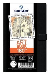 Блокнот для зарисовок Canson 180° 96г/кв.м 8.9*14см 80листов твердая обложка магнитная застежка черный