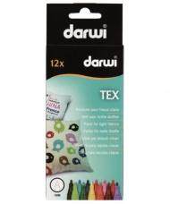 Набор маркеров по текстилю Darwi Tex, 12 цветов