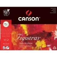 Альбом для масла Canson Figueras 290г/кв.м 19*25см 10листов Зерно холста склейка по короткой стороне