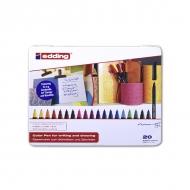 Набор фломастеров для рисования Edding 1200, 0.5-1 мм, 20 цветов, на водной основе