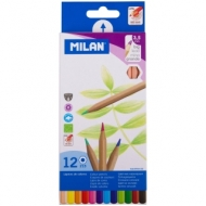 """Карандаши Milan """"213"""", 12цв., заточен., утолщенный грифель, картон, европодвес"""
