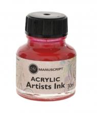 Тушь Manuscript акриловая 30мл банка стекло цвет маджента