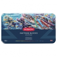Набор акварельных блоков Derwent Inktense 72 цвета, металлический пенал