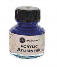 Тушь Manuscript акриловая 30мл банка стекло цвет синий