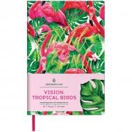 Ежедневник недатированный Greenwich Line Vision.Tropicalbirds, формат B6, 136 л., обложка кожзам, тонированная бумага