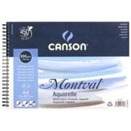 Альбом для акварели Canson Montval 300г/кв.м (целлюлоза) 21*29.7см 12листов Фин спираль по короткой стороне