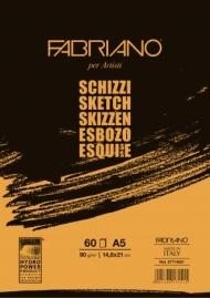 Альбом для рисования Fabriano Schizzi 90г/м.кв 14,8x21см мелкозернистая бумага, 60л склейка по короткой стороне