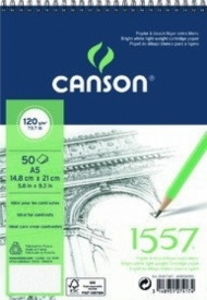 Альбом для графики Canson 1557 Dessin Ja 120г/кв.м 14.8*21см 50листов Малое зерно спираль по короткой стороне