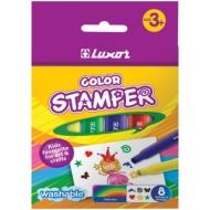 """Фломастеры-штампы Luxor """"Color Stamper"""", 08цв., смываемые, картон, европодвес"""