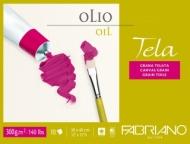 Блок для масла Fabriano Tela 300г/м.кв 24x32см структура холста 10л склейка по 4 сторонам