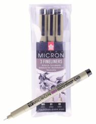Набор капиллярных ручек Sakura Pigma Micron 3 шт. (0.2, 0.25, 0.35мм) черный
