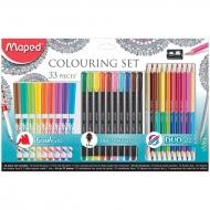 Набор для рисования Maped 10 фломастеров-кистей, 10 капиллярных ручек, 12 цветных карандашей