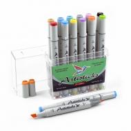 Набор художественных маркеров для скетчинга  Artisticks Basic 101, 12 цветов, 2-сторонние, 1-6 мм