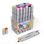 Набор художественных маркеров для скетчинга Artisticks CREATIVE, 24 цвета, 2-сторонние, 1-6 мм