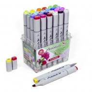 Набор художественных маркеров для скетчинга Artisticks FLOWERS, 24 цвета, 2-сторонние, 1-6 мм