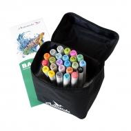 Набор художественных маркеров для скетчинга  Artisticks Basic 101bag, 24 цвета, 2-сторонние, 1-6 мм