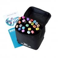 Набор художественных маркеров для скетчинга  Artisticks Brush 102bag, 24 цвета, 2-сторонние, 1-6 мм