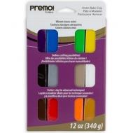 Набор полимерной глины Sculpey Premo Sampler Pack, флуоресцентные цвета, с эффектом стекла, с эффектом гранита12 цветов
