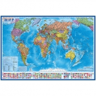 """Карта """"Мир"""" политическая Globen, 1:15,5 млн., 1990*1340мм, интерактивная, с ламинацией"""