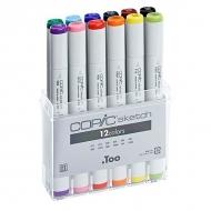 Набор маркеров для скетчинга COPIC Sketch с кистью, Set B 12 цветов