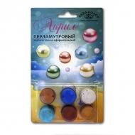 Акриловые краски АКВА-КОЛОР мини-набор «Акрил перламутр» для творчества, 6 цв. и кисть