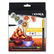Набор двойных фломастеров с эффектом рисунка кистью Aqua Brush Duo LYRA, 12 цветов