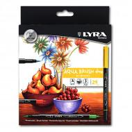 Набор двойных фломастеров с эффектом рисунка кистью Aqua Brush Duo LYRA, 24 цвета