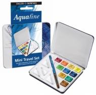 Дорожный набор акварельных красок Daler Rowney Aquafine, 10 кювет, металлическая коробка